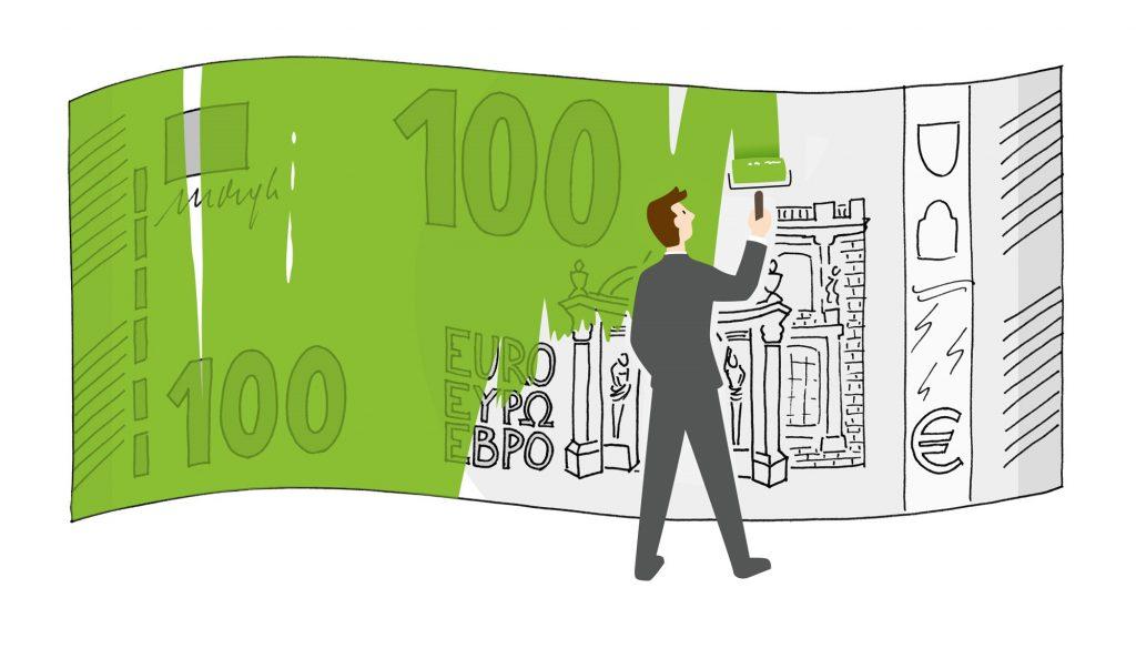 Ein Geldschein wird grün angemalt.