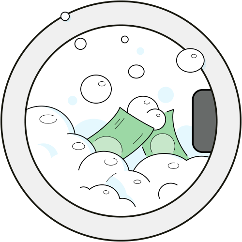 This illustration depiction of money laundering shows banknotes in a washing machine.