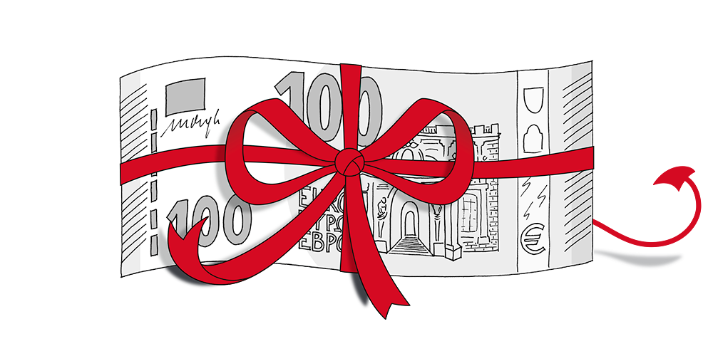 One hundred euro banknote wrapped in a ribbon